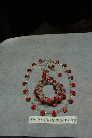 3 Piece Red Teardrop and Clear Round Beaded Necklace Set