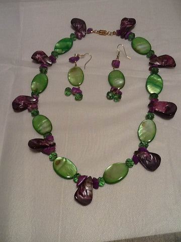 Green and Purple Mother of Pearl Necklace Set