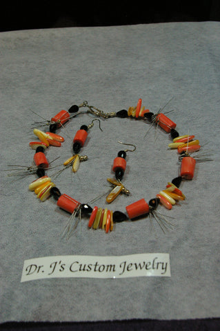Coral Tube and Black Onyx Teardrop Beaded Necklace Set