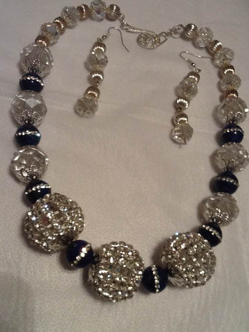 Rhinestone Inlaid Navy and Clear Beaded Necklace Set
