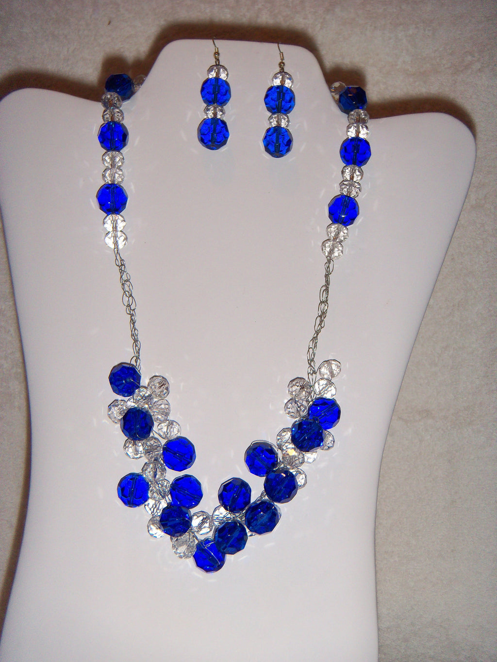Blue Rondelle and Clear Rondelle Crocheted Necklace Set