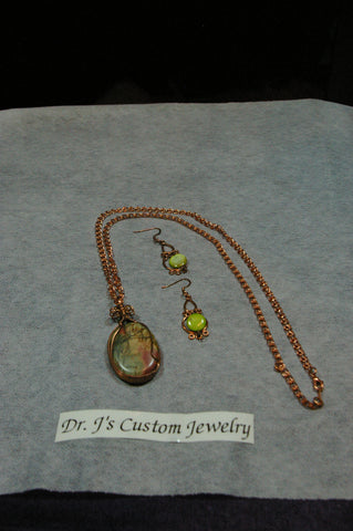 Green Multi-colored Pendant and Copper Necklace Set