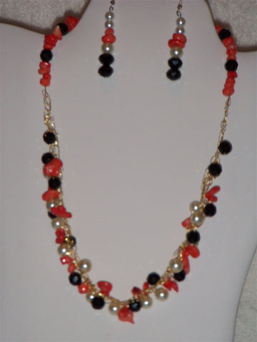 Crocheted Orange Nugget Chip, White Mother of Pearl, and Black Rondelle Necklace Set