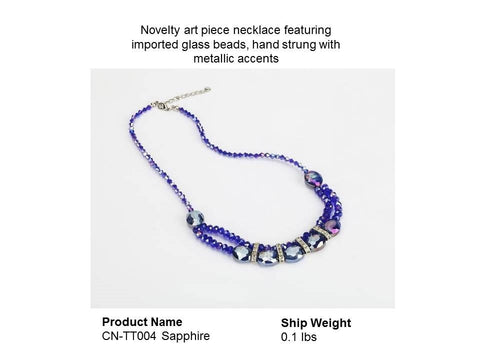 BLUE necklace featuring imported glass beads, hand strung with metallic accents