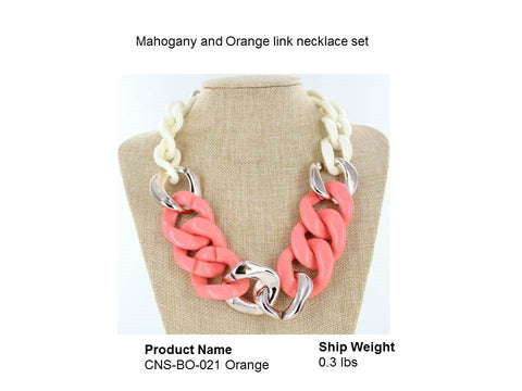 Mahogany and Orange link necklace