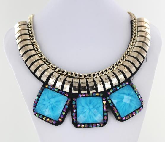 Blue and Silver Bib style necklace adorned with mixed metals and colorful beads.