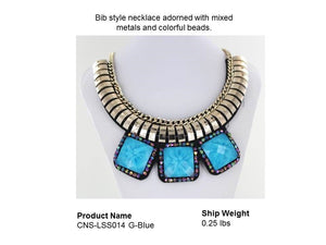 Bib style necklace adorned with mixed metals and colorful beads