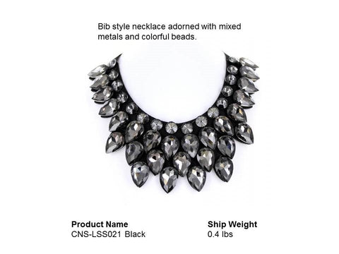 BLACK Bib style necklace adorned with mixed metals