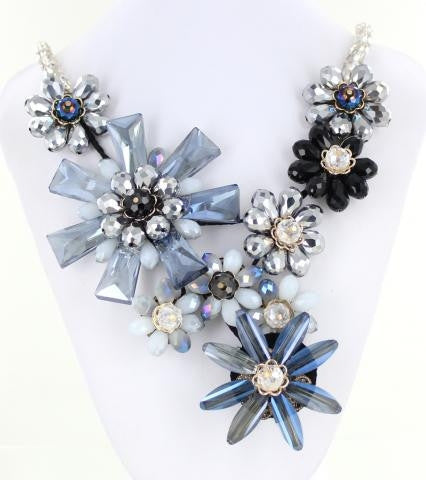 Blue Bib style necklace adorned with premium crystals.