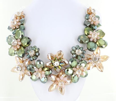 Green and Topaz Bib style necklace adorned with premium crystals.