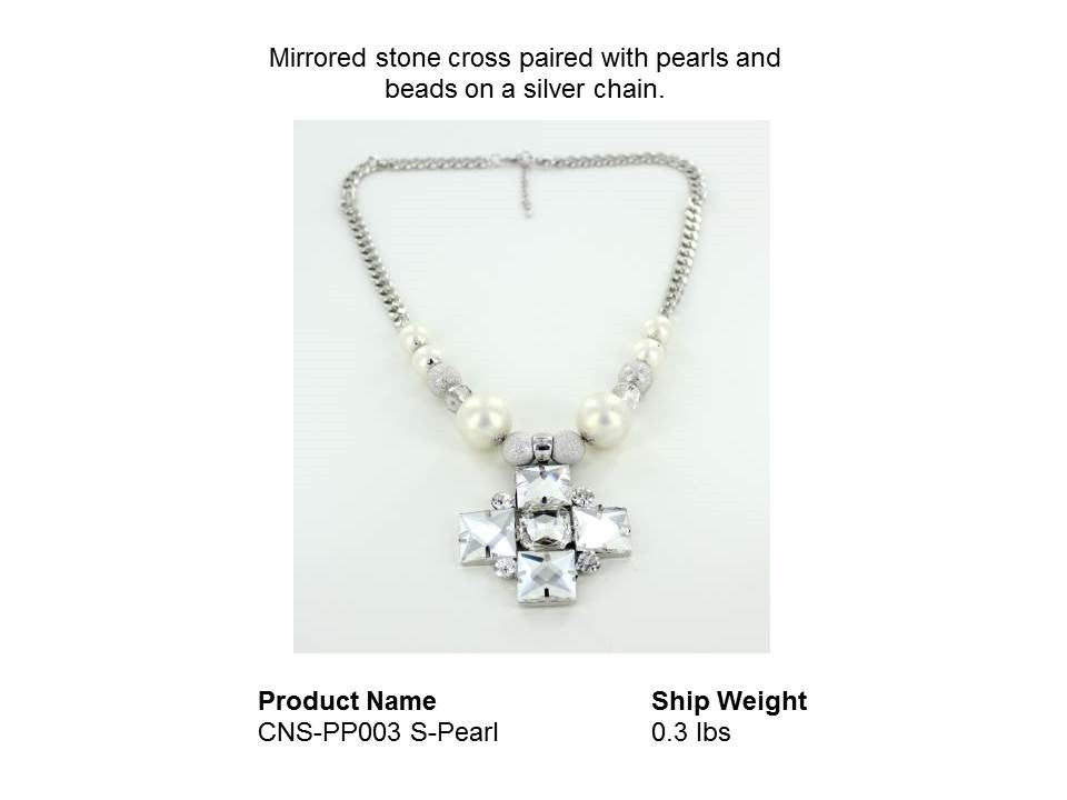 Mirrored stone cross paired with pearls and beads on a silver chain