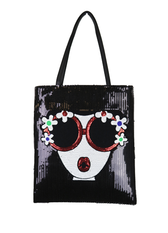 BLACK SEQUINED BAG WITH FACE WITH SUNGLASSES & HANDLE ON TOP