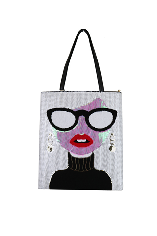 BLACK, GRAY, AND PURPLE FACE PURSE WITH GLASSES AND HANDLE ON TOP