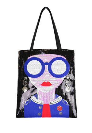BLACK. BLUE, RED AND WHITE LADY WITH BLUE GLASSES AND JACKET DESIGN ON FRONT