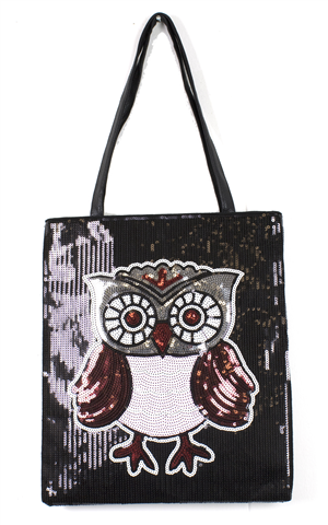 SEGUINED BLACK BAG WITH PICTURE OF OWL ON FRONT WITH BLACK HANDLE ON TOP