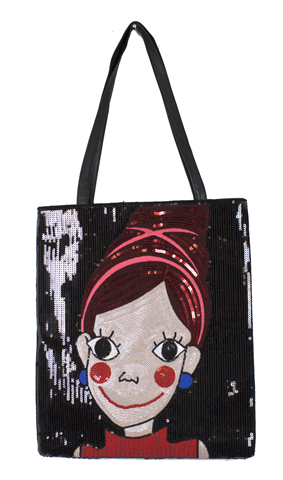 Sequined black bag with a face with makeup and big eyes and black handle on top