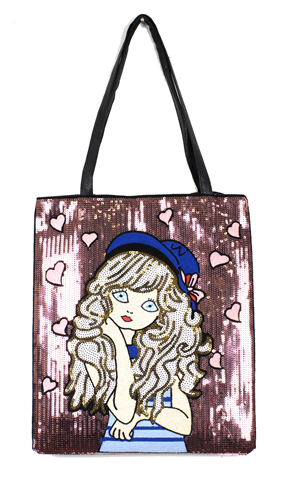 Sequined red bag with cute little girl with a blue hat and a black hande