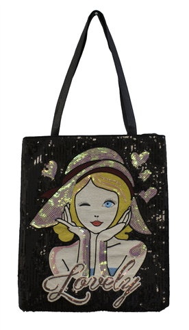 Sequined black bag with a lady face with a hat and the word Lovely on the front