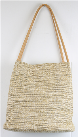 Beige Reed Woven ladies casual handbag with 2 handles on top