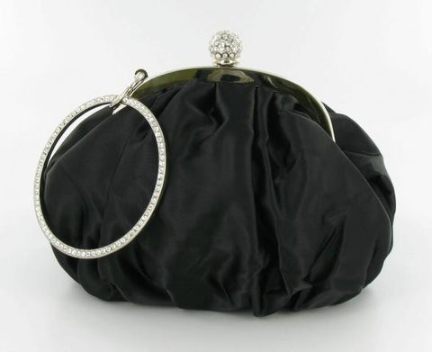 Black formal purse w/rhinestone circle handle/holder