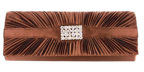 Brown formal purse w/ a rectangle rhinestone in center