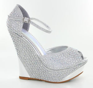 Silver Jeweled High Heeled Wedges