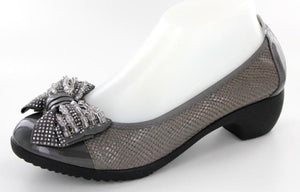 GRAY SHOES WITH A PRETTY BLING BOW