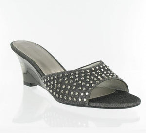 Gun metal grey wedge with stones