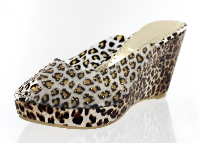 Brown Leopard Wedge