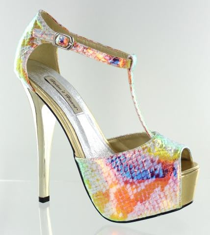 AB Print High Heel Ladies Formal Shoes with Gold Heel