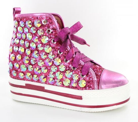 Pink high top bling shoes