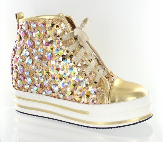 Gold high top bling shoes