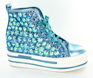 Turquoise High top bling shoes