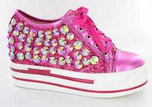 Fuchsia Low top bling shoe