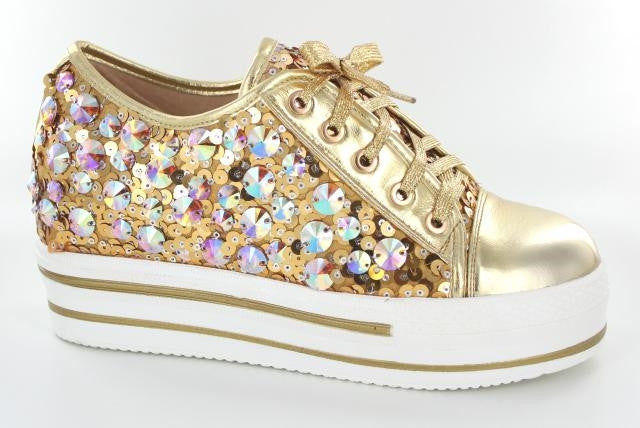 Gold low top bling shoe
