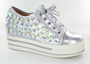 Silver low top bling shoe