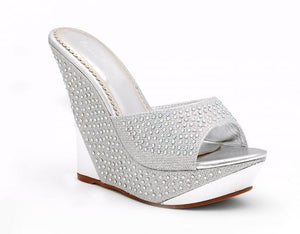 Silver Jeweled Slip-on Wedges