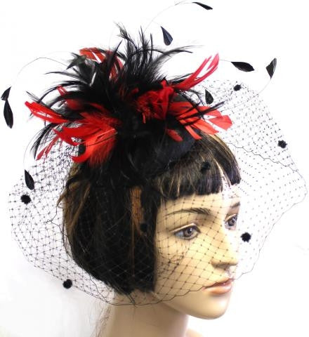 BLACK/RED COLOR FEATHER WITH BLACK VEIL