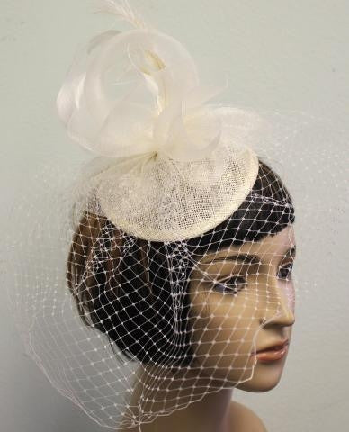 IVORY  Birdcage Veil With Feather Detailing