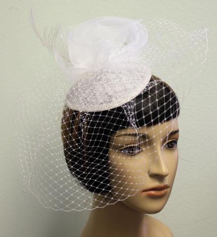 WHITE  Birdcage Veil With Feather Detailing