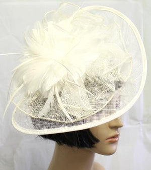 BLACK/IVORY COLOR HAT with feathers on a big wide hat