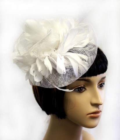 WHITE Retro Inspired Bridal Hat with Feather Detailing