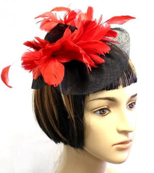 RED/BLACK COLOR FEATHER HAT