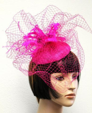 Fuchsia Feather & Veil Hat