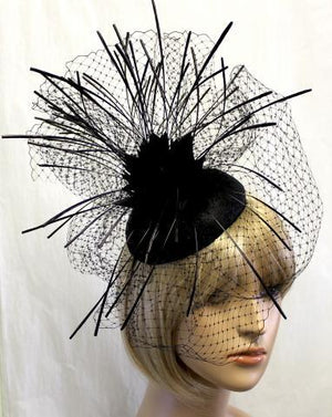 Black Feather Hat and Veil