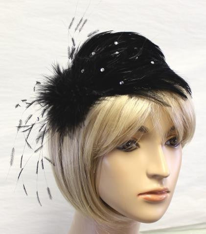 Black Feather and Clear Rhinestones