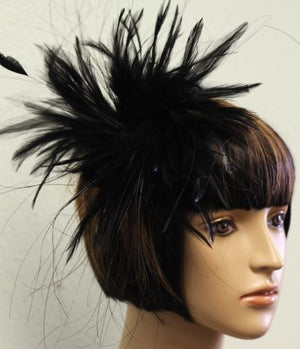 Black feathered hair accessory