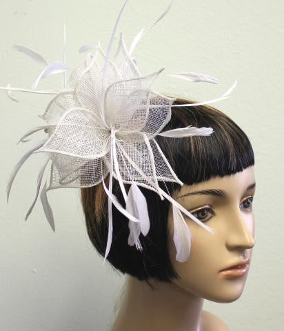 WHITE Knit Flower Headband With Feather Detailing
