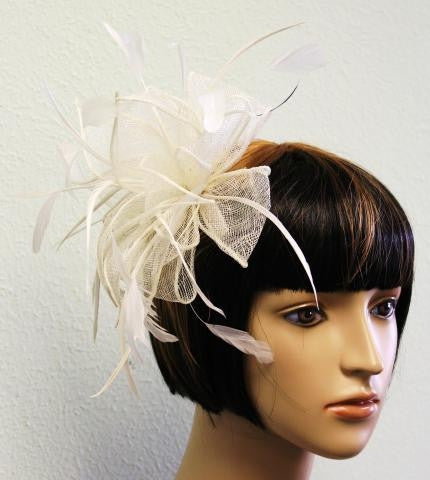IVORY Knit Bow Head Piece with Feather Detail