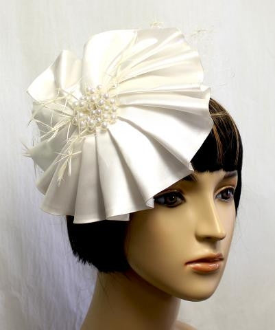 Ivory Wedding Hat with Pearl Details